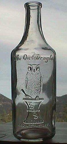 Scarce Round OWL DRUG Co Antique Bottle w/ pic OWL on druggist mortar. Bay Rum Cologne type bottle- Old cork top Antique Glass Bottles, Apothecary Bottles, Bottles And Jars, Glass Jars, Mason Jars, Perfume Bottles, Old Medicine Bottles, Bay Rum, Vintage Bottles