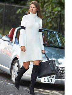 Lost Ink Stripe Sleeve Roll Neck Dress | littlewoodsireland.ie