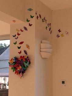 Butterfly Heart Wall Decor By Tzuki Art. Dimensions : 31 x 33 x 7 Cm sculpture: Metal How is it made? Formed from cold rolled steel, recycled metal, which has been laser cut, galvanised, spray and hand painted. Tzuki Design series offers a limited edit Heart Wall Decor, Diy Wall Decor, Heart Wall Art, Baby Decor, Paper Wall Decor, Diy Wand, Art Mural Papillon, Diy Para A Casa, Heart Artwork