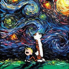 Aja Kusick paints pop culture Starry Night scenes in her 'Van Gogh Never' series. Each cartoon Van Gogh painting puts an artistic spin on pop culture. Calvin And Hobbes Comics, Cultura Pop, Vincent Van Gogh, Canvas Art Prints, Fine Art Prints, Pop Art, Most Famous Paintings, Totoro, Pop Culture