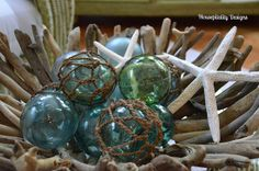 Driftwood bowl/Antique Fishing Floats