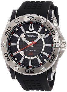 Bulova Champlain Precisionist Carbon Fiber Dial Black Rubber Strap Men's Watch 96B155
