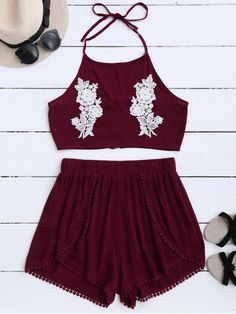 $15.99 Lace Floral Halter Crop Top and Shorts - WINE RED M