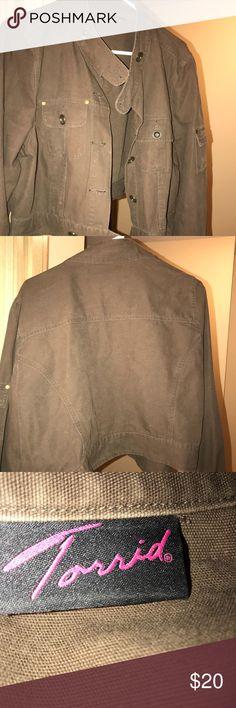 Military Style Short Brown Jacket Chocolate brown military style jacket in excellent condition long sleeve .Torrid size 2 torrid Jackets & Coats