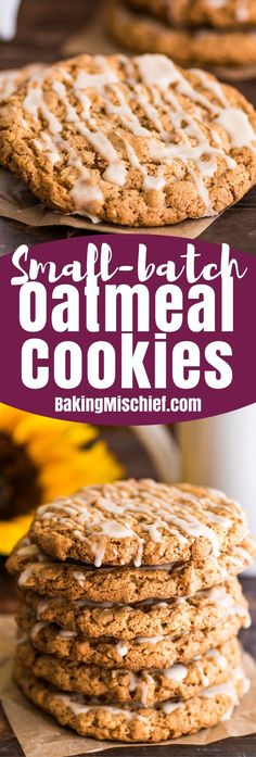 This Small-batch Oatmeal Cookies recipe makes six big and beautiful cookies, perfectly sweet and spicy, packed with cinnamon and bit of nutmeg and drizzled with vanilla icing. Small Batch Cookie Recipe, Small Batch Baking, Oatmeal Cookie Recipes, Easy Cookie Recipes, Oatmeal Cookies, Baking Recipes, Small Batch Of Cookies, Keto Recipes, Bar Recipes
