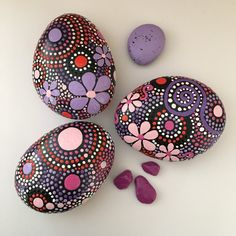Pink and Purple Hand Painted River Rocks - the perfect gift for the nature lovers on your list! SHOP NOW-Free US Shipping!