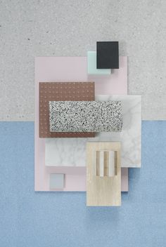 Material Mood Of The Week ~ Spring Colors & Contrast #terrazzo #marble #ceramics #colors #blue #pastel #pink #wood #materials #interordesign #architecture #inspiration #materialmood #moodboard #studiodavidthulstrup