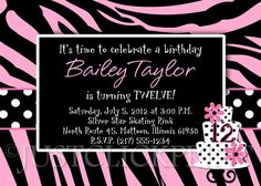 Zebra Giraffe Print Diva Birthday Cake Invitation Pink Black or Any Colors