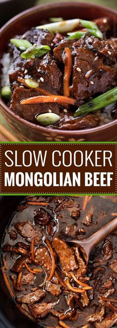 Slow Cooker Mongolian Beef Recipe - The Chunky Chef Amazingly tender Mongolian beef, made incredibly easy in the slow cooker! Just 10 minutes of prep!Amazingly tender Mongolian beef, made incredibly easy in the slow cooker! Just 10 minutes of prep! Slow Cooker Mongolian Beef Recipe, Mongolian Beef Recipes, Slow Cooker Beef, Rib Roast Slow Cooker Recipe, Mongolian Barbeque Recipe, Beef Steak Recipe, Slow Cooker Flank Steak, Easy Mongolian Beef, Gastronomia