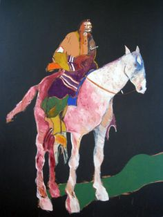"Fritz Scholder (1937-2005) ~ ""Indian on White Horse"", 1978"