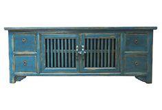 Cage Media Cabinet, Blue  on OneKingsLane.com