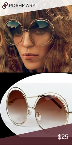 Round frames high fashion NEW High quality Elegant Round Wire Frame Sunglasses Women mirror / gradient Glasses shades Oversized Eyeglasses Accessories Sunglasses