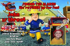 Fireman Sam Birthday Invitations - Any Wording - Get these invitations RIGHT NOW. Design yourself online, download and print IMMEDIATELY! Or choose my printing services. No software download is required. Free to try!