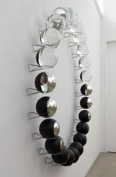Olafur Eliasson: Your Lost Outside, 2014  Set of 24 crystal partially mirrored spheres, paint (black), stainless steel