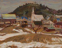 A.Y. Jackson - Notre Daem de la Salette 10.5 x 13.5 Oil on board (1963) La Salette, Tom Thomson, Group Of Seven, Fine Art Auctions, Dame, Jackson, Artist, Oil, Board