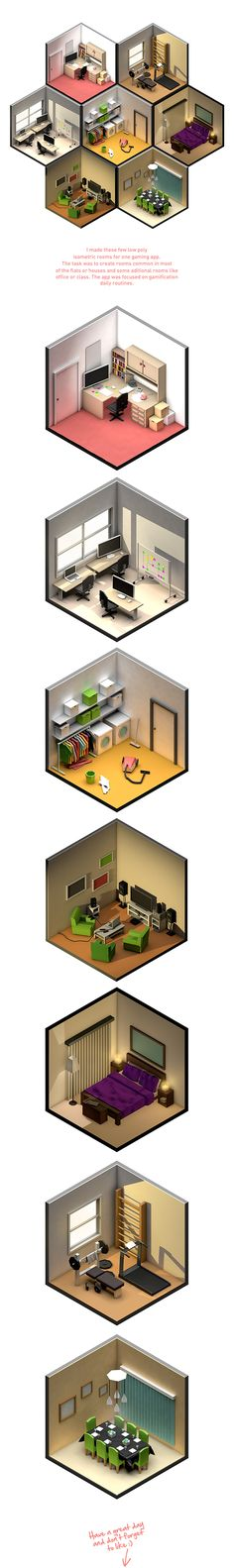 Really a sucker for isometric stuff. Low Poly rooms by Petr Kollarcik, via Behance Isometric Art, Isometric Design, Isometric Shapes, Bg Design, Game Design, Low Poly, 3d Modellierung, Concept Art Landscape, Modelos 3d
