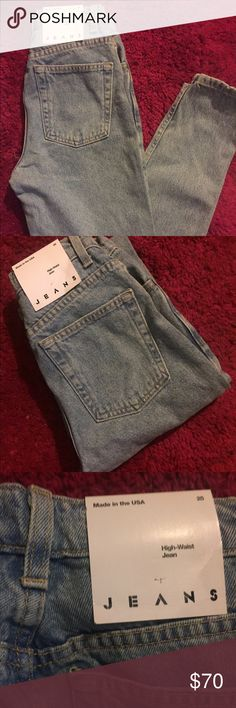 American Apparel High-Waist Jeans (New with tags) Brand new! Never before worn. Medium wash, high-waist fit.   Size 25 (US 2)   Currently priced at $90 at American Apparel, in-store and online. American Apparel Jeans