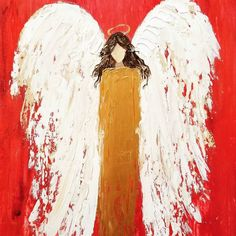 Abstract Angel Acrylic Palette Knife Painting Tutorial by Angela Anderson FREE on YouTube #angel #Christmas #paletteknife  #acrylicpainting