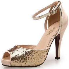 STYLEWE PEEP TOE Golden Party & Evening Stiletto Heel Sparkling Glitter Heels