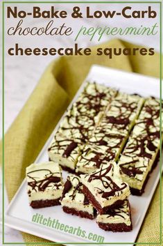 Easy sugar free and gluten free recipe for no bake chocolate peppermint cheesecake squares. Perfect for when you want a low-carb sweet treat, but with portion control taken care of. Cheesecake Squares, Low Carb Cheesecake, Cheesecake Recipes, Dessert Recipes, Keto Recipes, Dessert Ideas, Low Carb Sweets, Low Carb Desserts, Apple Desserts
