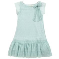 2 in 1 dress made of a dotted voile dress with a bow at the neckline. One dress made of stretch jersey. Round neck and short sleeves. Flounces made of light cotton voile. Machine wash at 30°C. - £ 92,00