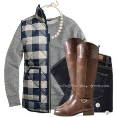 J.Crew vest & Sweatshirt with Riding boots by steffiestaffie on Polyvore featuring polyvore, fashion, style, J.Crew, Paige Denim and Tory Burch