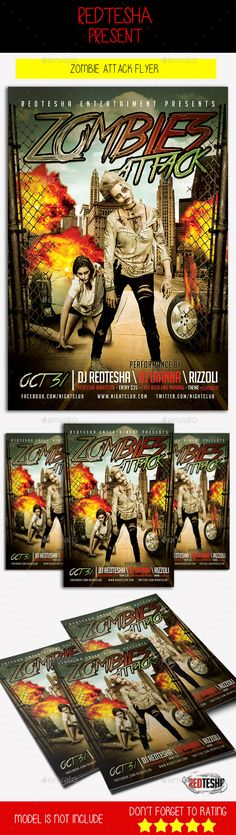 Zombie Halloween Party Flyer Template Zombie halloween party - zombie flyer template