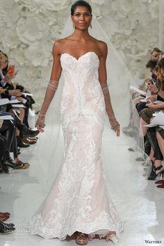 watter brides spring 2015 bridal ivory rosegold beaded strapless sweetheart neckline fit flare chapel train wedding dress vida 7041b