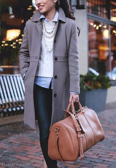 Weekend bag from Cassidy, coat from J. Crew, striped shirt from BR and a cropped sweater from Ann Taylor