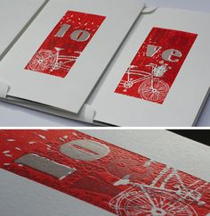 TANDEM BIKE hand cut blocks & letterpressed, converts to a matted work of art that is ready for most standard 5×7 frames by husband and wife team, Suzanne and Bennett Holzworth – Lincoln Nebraska