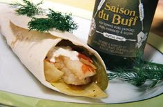 Dogfish Shrimp And Stir Fried Cabbage Fajitas With Sour Cream Dill Sauce