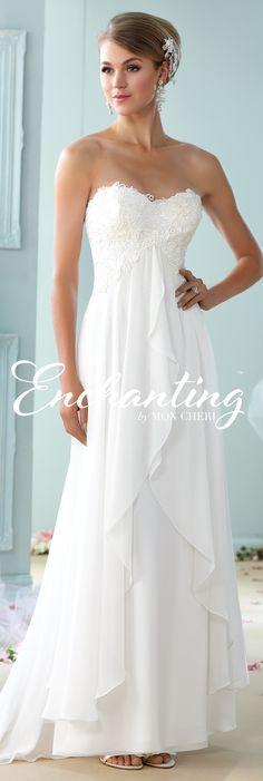 Enchanting by Mon Cheri - The Premiere Collection ~Style No. 215108 #chiffonweddingdresses  Charlotte Earrings www.davidtuteraembellish.com