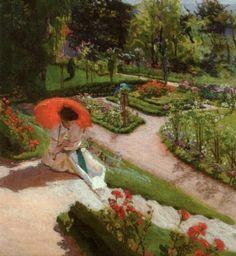 Mehoffer, Józef (Polish, 1869-1946) - Reading on Garden Steps, 1917