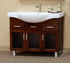 Modern Cabinet Inch Single Sink Vanity Wood (Medium Walnut) X X