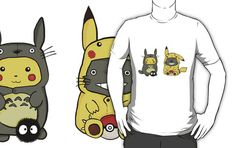 Totoro and Pikachu Onesies T-Shirt Get yours here: http://tshirtonomy.com/go/totoro-and-pikachu-onesies