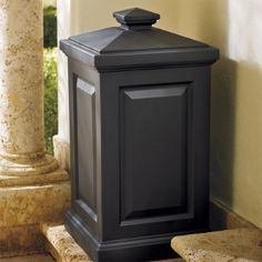 Berkshire Outdoor Bin:  This durable Berkshire Outdoor Bin combines classic good looks and maintenance-free convenience. This multipurpse bin can be used for waste, pet food, or charcoal.