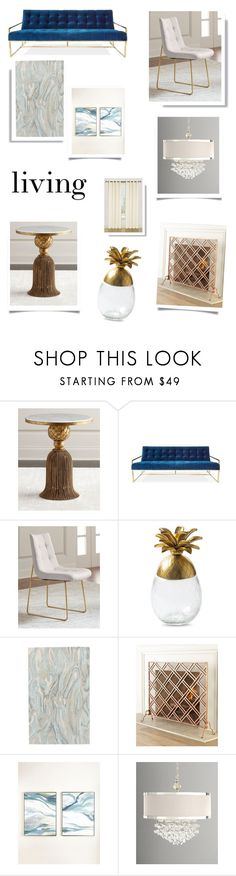 """""""pineapple table and blue sofa - living"""" by namaste203 ❤ liked on Polyvore featuring interior, interiors, interior design, home, home decor, interior decorating, Jonathan Adler and Ballard Designs"""