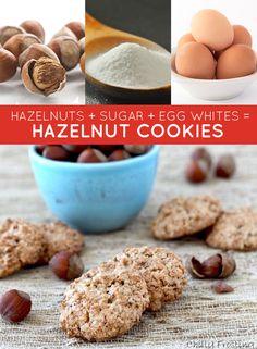 hazelnuts + sugar + egg whites = hazelnut cookies