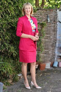 Fuchsia cotton suit, found in Italy. Multicoloured top used to be a dress. Shoes Max Mara.