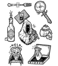 BAD PIZZA flash sheet WIP for @insight_oz @insight51 coming arts show⚡️ My favorite one is Domino reaper in the middle