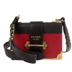 Prada Shoulder Bag - Cahier Crossbody Bag Fuoco/Nero - in red -... (17,565 CNY) ❤ liked on Polyvore featuring bags, handbags, shoulder bags, red, leather tote, prada crossbody, red tote bag, red leather tote and crossbody purses
