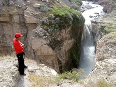 Cotahuasi Canyon, Peru: The Sipia Waterfall has a free fall of 150 meters (492 feet) which forms a permanent rainbow