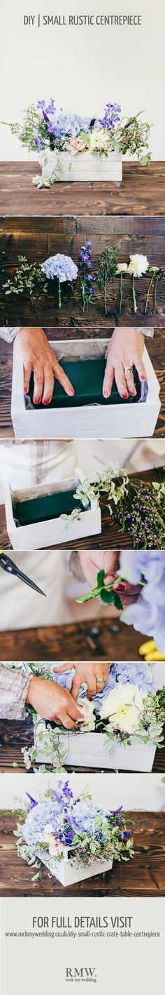 Rustic crate wedding centrepiece DIY tutorial / http://www.himisspuff.com/diy-wedding-centerpieces-on-a-budget/42/