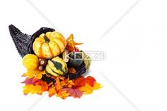 horn of plenty with copy space - Aerial of fall decorations, isolated on white.