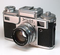 In memory of Ukraine, the Kiev 4 is a film camera built in the 1950s. Two models were introduced, one with a light meter, and another without.