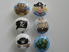 Hand Painted Drawer Pulls Knobs Pirate by sunshineinspirations, $5.00