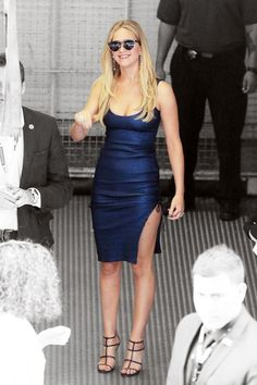 Jennifer Lawrence graced the annual San Diego Comic-Con in not one but three red-carpet-ready outfits, including this hot midnight-blue dress by Prabal Gurung. #refinery29 http://www.refinery29.com/2015/07/90657/jennifer-lawrence-bodycon-dress-outfit#slide-1