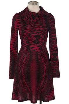 TRIBAL PRINT FOLDOVER NECK DRESS-Magenta