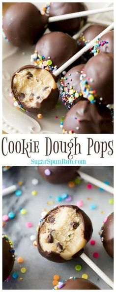 Cookie Dough Pops are so fun to make and eat!You can find Cake pops recipe and more on our website.Cookie Dough Pops are so fun to make and eat! Cookie Dough Cake Pops, Cookie Dough Vegan, No Bake Cookie Dough, Cookie Dough Recipes, Cookie Pops, Baking Recipes, No Bake Cake Pops, Homemade Cookie Dough, Edible Cookie Dough