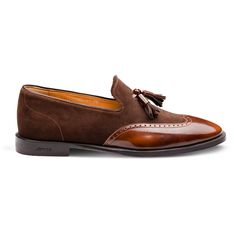 Men's brown semi-patent leather and suede loafer from Armos